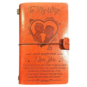 Leather Journal, to Wife Travel Journals for Wedding Birthday Anniversary, Retro
