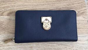 Michael Kors Hamilton Traveler Navy Large Zip Around Saffiano Leather Wallet