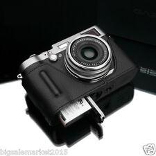 GARIZ Grip type Half Case + Wrist Strap Set Black for FUJI X100T & X100S & X100