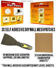 3 Self Adhesive Wall Mesh Patch 3 Sandpaper Sheet 1 Scraper Kit Plastering