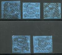 GERMANY STATES BRUNSWICK SCOTT# 9 MICHEL# 7 USED LOT OF 5 AS SHOWN