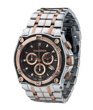 CALABRIA - RIGA- Rose Gold Two Tone Chronograph Men's Watch with Carbon Fiber