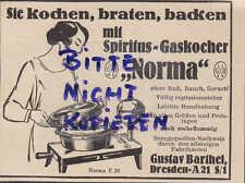 DRESDEN, Werbung 1931, Gustav Barthel Spiritus-Kocher NORMA kochen braten backen