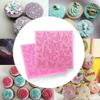 Butterfly Lace Fondant Mould Silicone Cake Decorating Baking Mat Sugarcraft I8Y8