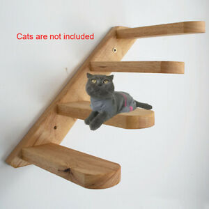 Wood Wall Mount Cat Toy Gifts Pet Easy Install Home Ladder Step Staircase Solid