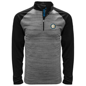 INTER MILAN LONG SLEEVE BLACK HEATHER POLO SHIRT SMALL-XXL OFFICIALLY LICENSED