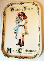 Vtg holiday serving tray Wishing You a Merry Christmas