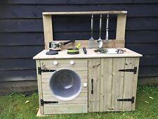 child's wooden mud kitchen garden nursery washing machine playground playroom