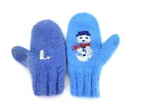"Handknit Mittens Vtg Childrens Wool Blue Snowman "" L"" Dont match Peg hangers"