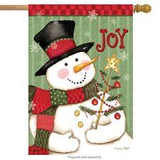 "Snowman Joy Christmas House Flag Primitive Holiday 28"" x 40"" Briarwood Lane"