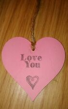 'love you' pink wooden heart gift, can be personalised