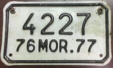 1976-1977 Morelos, Mexico Motorcycle License Plate