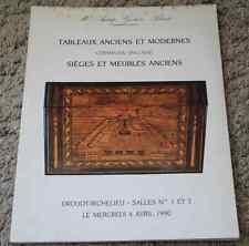 CATALOGUE VENTE ENCHERES 1990 Tableaux céramique anglaise sièges meubles anciens
