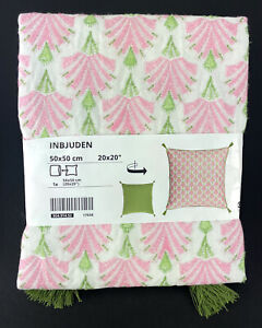 "Ikea INBJUDEN Pillow Cushion Cover, Embroidered White/Pink/Green 20"" x 20"" - NEW"