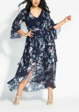 CITY CHIC L- GREY FRILL SLEEVE FLORAL  MAXI DRESS