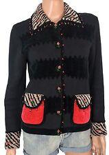 Vintage JACK B QUICK SWEATER Beaded Novelty Black Textured Wearable Art Petite S