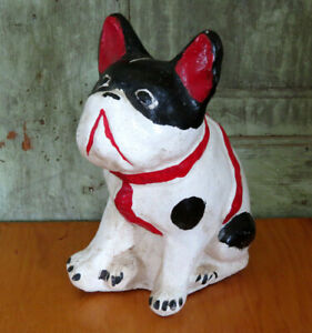 OLD Concrete Cement Black White Chippy Paint French Bull Dog Statue Frenchie