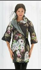 Bryn Walker Art To Work Crinkled fabric wrapped Noah tunic jacket floral green M