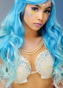Womens Mermaid Silver Glitter Shell Bra