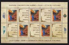 FOGLIETTO SAN MARINO DANTE SHEETLET LINGUA CONGIUNTA  ITALIA VATICANO 2009