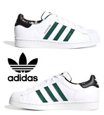 Adidas Originals Superstar Sneakers Women's Casual Shoes Leather White Green