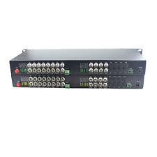 24 CH Video Data Fiber Optical Converter Transmitter Receiver CCTV 1U 19'' Rack