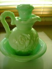 Vintage Victoriana Avon Pitcher And Bowl Set Green - 1970's - w/Box