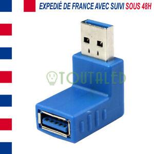 ADAPTATEUR CONNECTEUR ANGLE 90 DEGRES USB 3.0 MALE VERS USB 3.0 FEMELLE /2.0 1.0