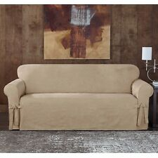 Sueded suede twill slipcover by sure fit Sofa TAUPE slip cover
