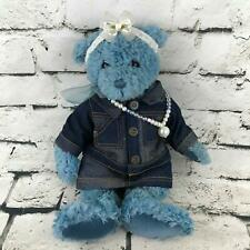 Gund Pawlette Teddy Bear Plush Blue Dressed In Dark Denim Outfit Collectible Toy