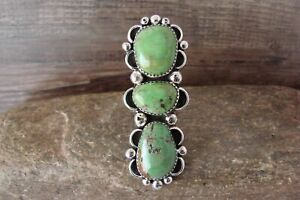 Navajo Sterling Silver Turquoise 3 Stone Adjustable Ring Size 7 to 13, Albert...