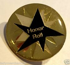 """A HONOR ROLL"" Black STAR Enamel Lapel Pins/ Wholesale Lot of 25/ALL NEW LINE"