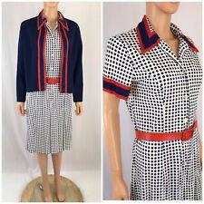Vtg. 60s Dot Print Dress Serbin Americana Fit Flare Preppy Rockabilly MOD M/L