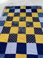 "VINTAGE Handmade  Moon And Stars Patchwork Quilt 39"" x 51"" lap #360"