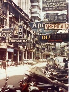 (AtF) Photograph 1960s Photo Original Hong Kong Street Scene Signs Bars Artistic