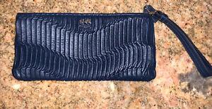 COACH Blue Gathered Leather Clutch Wallet Wristlet MSRP $238 NWOT