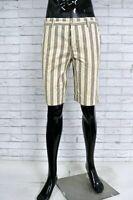NAPAPIJRI Bermuda Uomo Jeans Taglia 33 Pants Pantalone Corto Shorts Cotone Righe