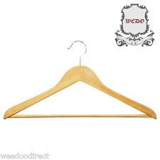 "Wooden Coat Suit Garment Clothes Wardrobe Wood Hanger with Trouser Bar 44cm/17"""