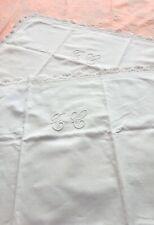 PAIR Vintage French Pillowcases Shams MONOGRAM TC Lace Trim White Linen Blend