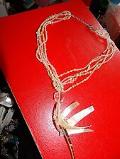 5 STRAND SEED BEAD, WOOD SURF NECKLACE WITH ROCK CRYSTAL FOCAL BEAD & SHELL   26