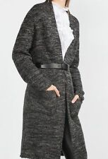 ZARA SIZE M LONG WOOL CARDIGAN KNIT JACKET COAT LANGE WOLLE STRICKJACKE JACKE