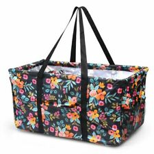 Women Collapsible Picnic Basket Wireframe Utility Shopping Tote Bag Multi Floral