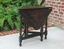 Antique English Oak CARVED Drop Leaf Gate Leg Handkerchief Envelope Corner Table