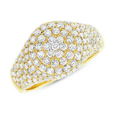 Pave Circle Cocktail Right Hand Ring Womens 14K Yellow Gold 1.81Ct Round Diamond