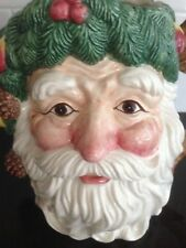 "Fitz & Floyd ""Woodland Santa"" 1 1/2 Qt. Christmas Pitcher - Handpainted Face"