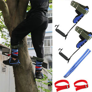 Tree/Pole Climbing Spike Set Safety Belt Strap Rope Adjustable Stainless Steel