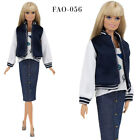 FAO-056 Bomber jacket  top  skirt outfit for Barbie MTM and similar 12''dolls