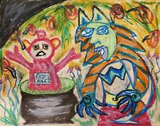 Demise of the Teletubbies Original 11x14 Painting Folk Art Dark Humor CrayPas