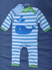 Toby Tiger Sleepsuit. Babygrow.100% Cotton. Boy. Blue. Whale. Age 3-6 Mths.