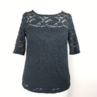 Somerset by Alice Temperley Grey Petrol Green Lace Overlay Top Evening Career 8